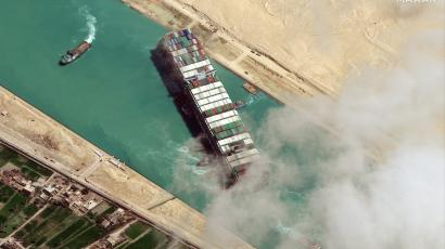 Ever Given container ship is pictured in Suez Canal