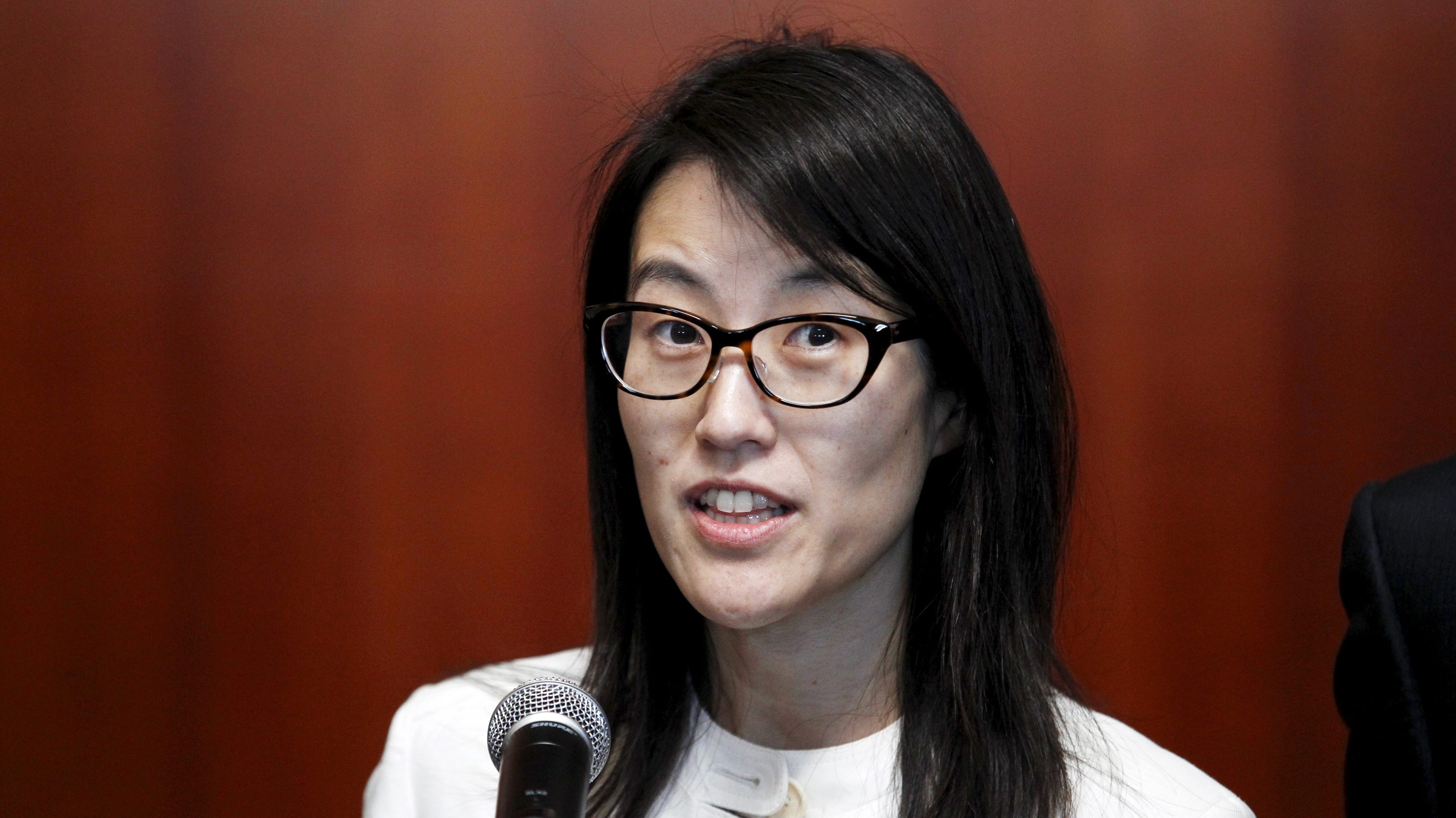 Ellen Pao speaks to the media after losing her high profile gender discrimination lawsuit against venture capital firm Kleiner, Perkins, Caufield and Byers in San Francisco, California March 27, 2015.