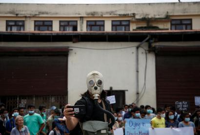 Protestors against air pollution in 2018 in Nepal, the country with the worst air quality in the world.