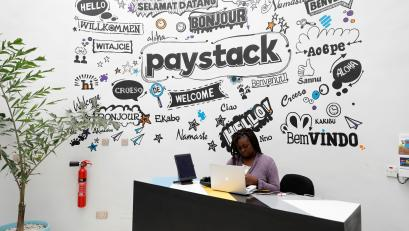 A staff member works at the reception of the paystack online payment company in the government reserved area in Ikeja, in Lagos