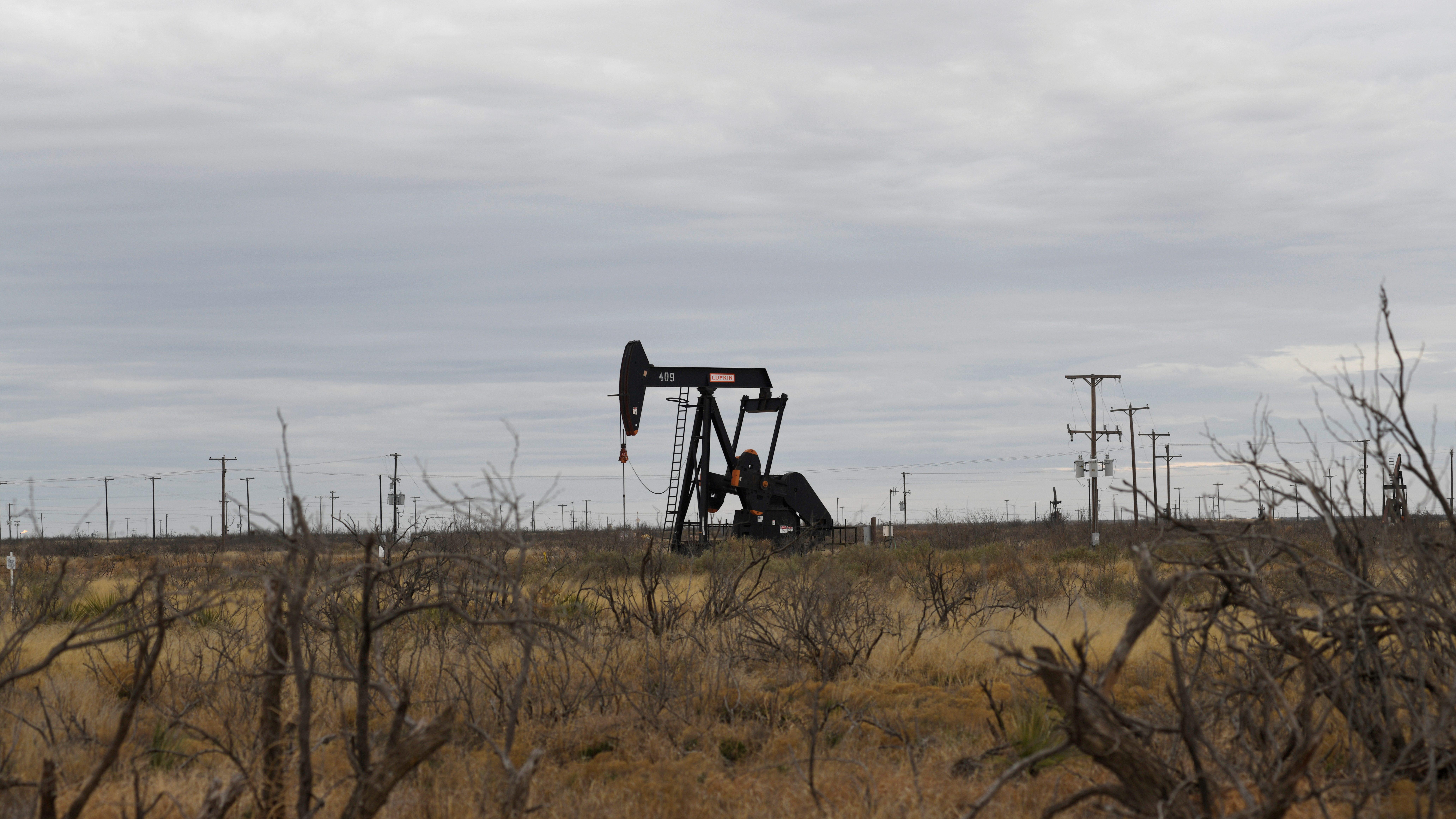 a pump jack in a Texas oil field