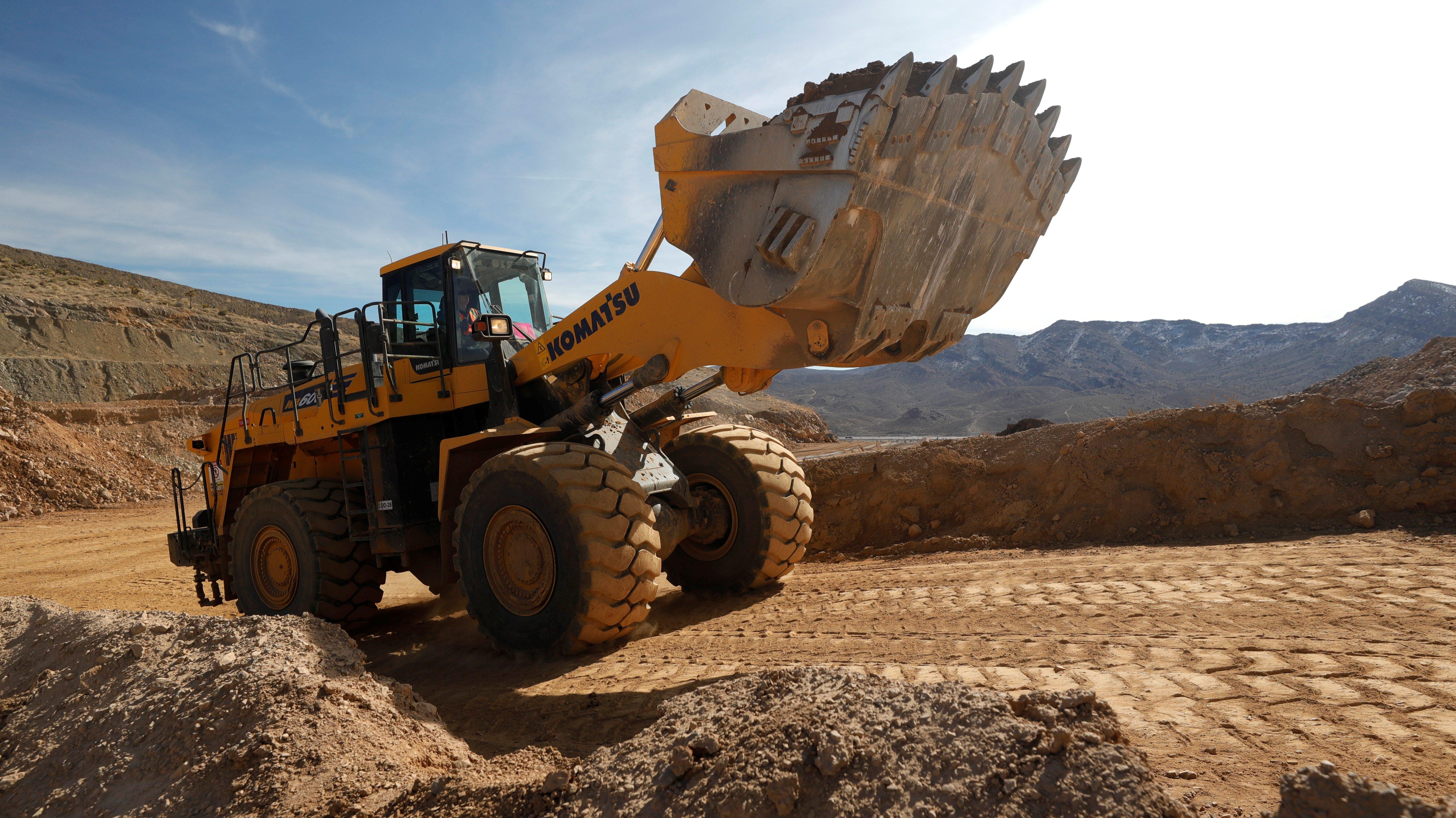 Wheel loader at Mountain Pass rare earths mine