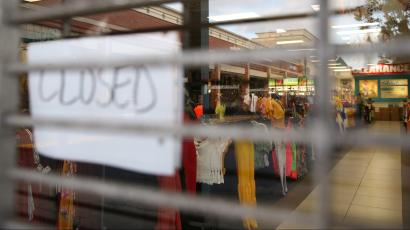 A clothing store in a shopping center is closed during the coronavirus disease (COVID-19) outbreak