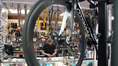 The interior of a bike shop in New York City