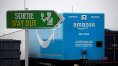 Amazon trailer trucks are seen at Cherbourg Harbour, France