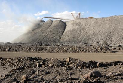 The Bayan Obo mine containing rare earth minerals, in Inner Mongolia, China.