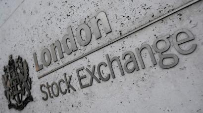 The London Stock exchange logo on a wall.