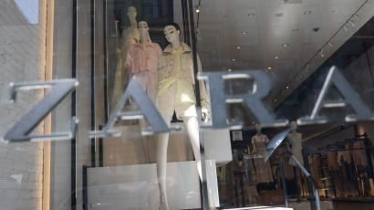 Pastels are displayed in the front window of Zara