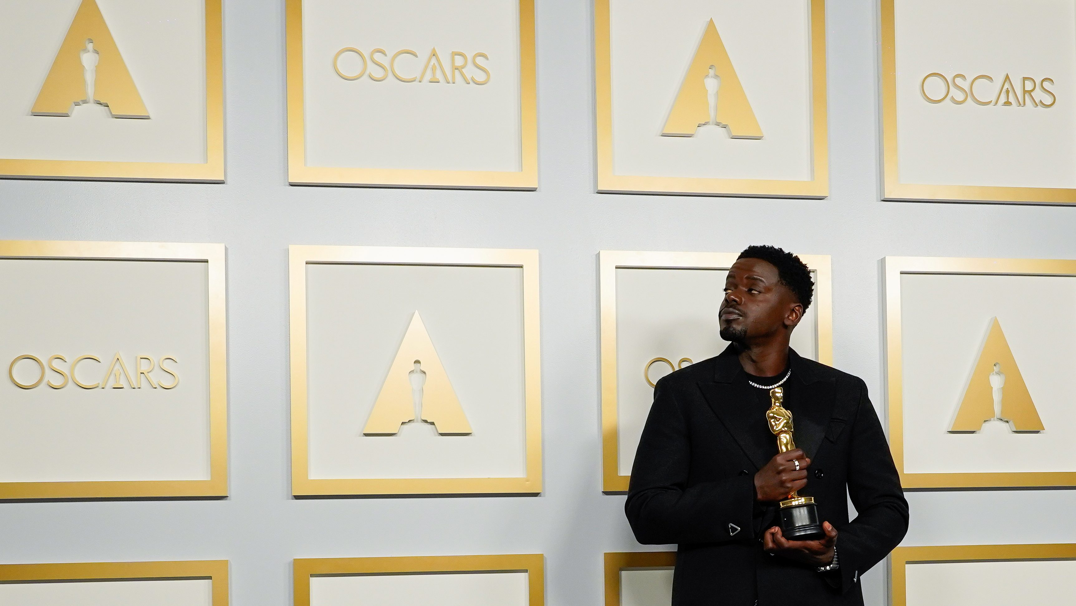 "Daniel Kaluuya, winner of the Award for Best Actor in a Supporting Role for ""Judas and the Black Messiah"", poses at the press room of the Oscars, in the 93rd Academy Awards in Los Angeles, California, U.S., April 25, 2021."