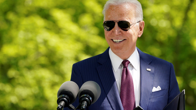 FILE PHOTO: U.S. President Joe Biden delivers remarks on the administration's coronavirus disease (COVID-19) response outside the White House.