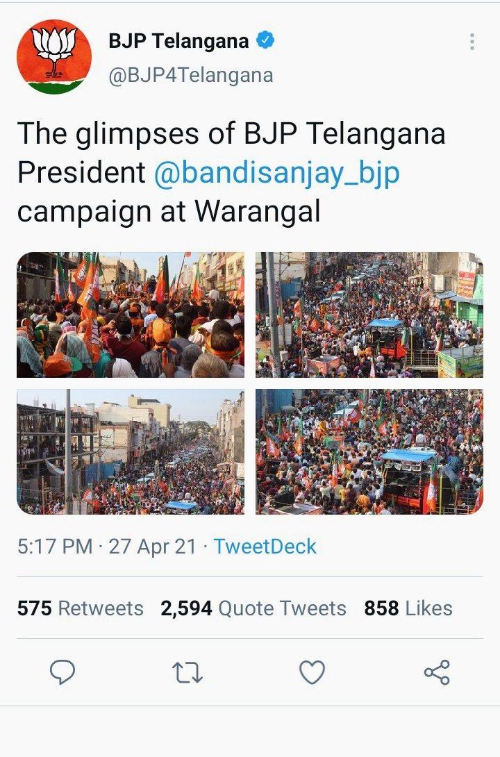 A tweet showing BJP Telangana's rally