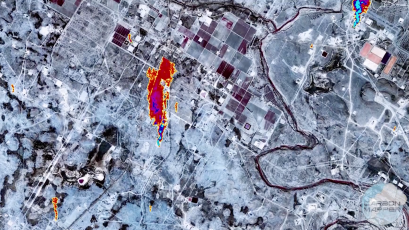 An visualization of methane leaks detected in Texas using a hyperspectral sensor set to go to orbit on a Planet satellite.