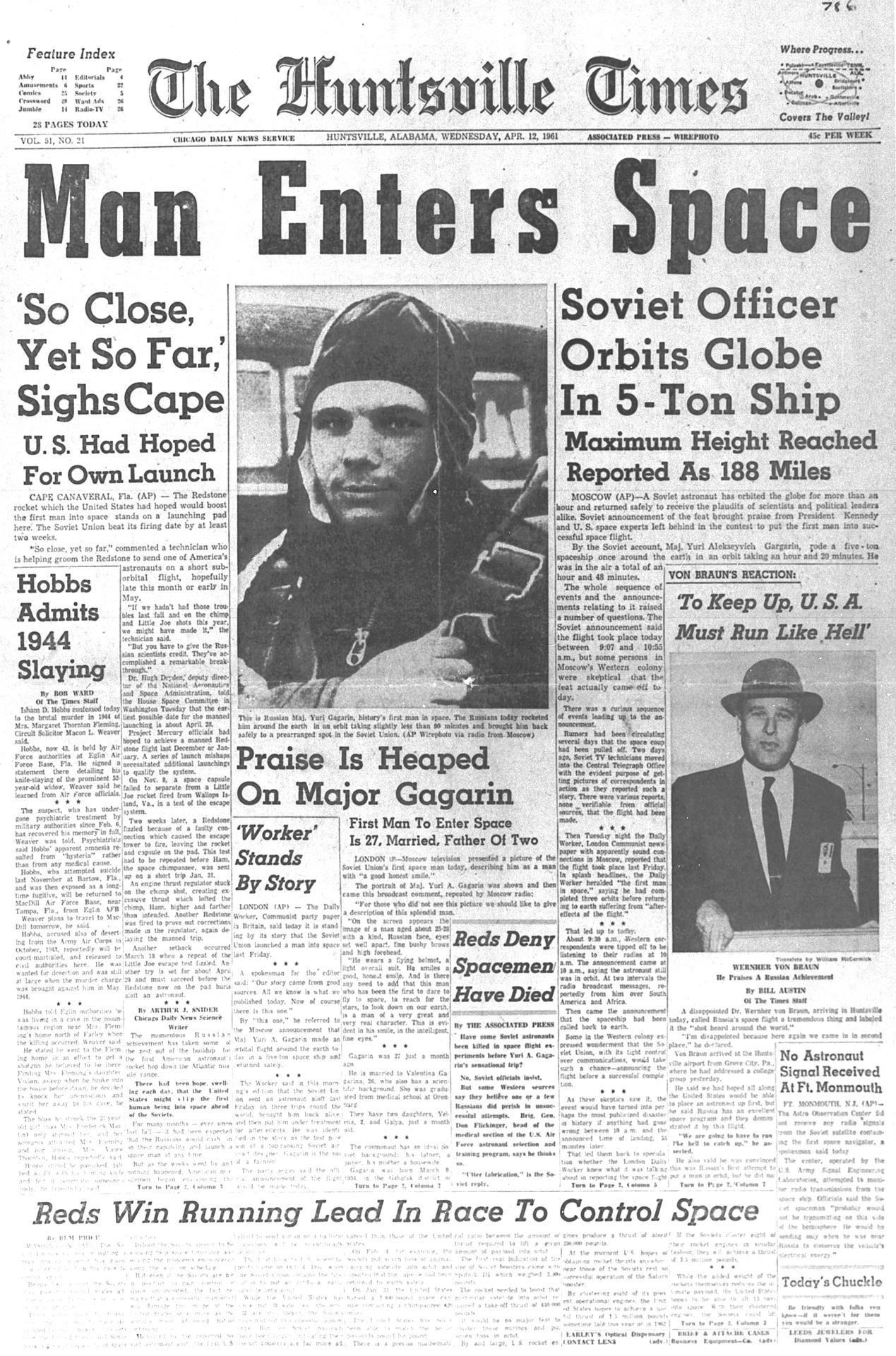 The April 12, 1961 edition of the Huntsville Times covers the flight of Yuri Gagarin.