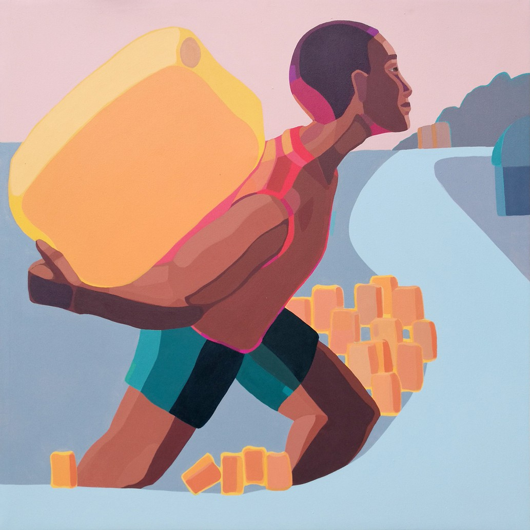 """""""A Boy with a Yellow Jerrycan"""" by Ethiopian artist Nirit Takele."""