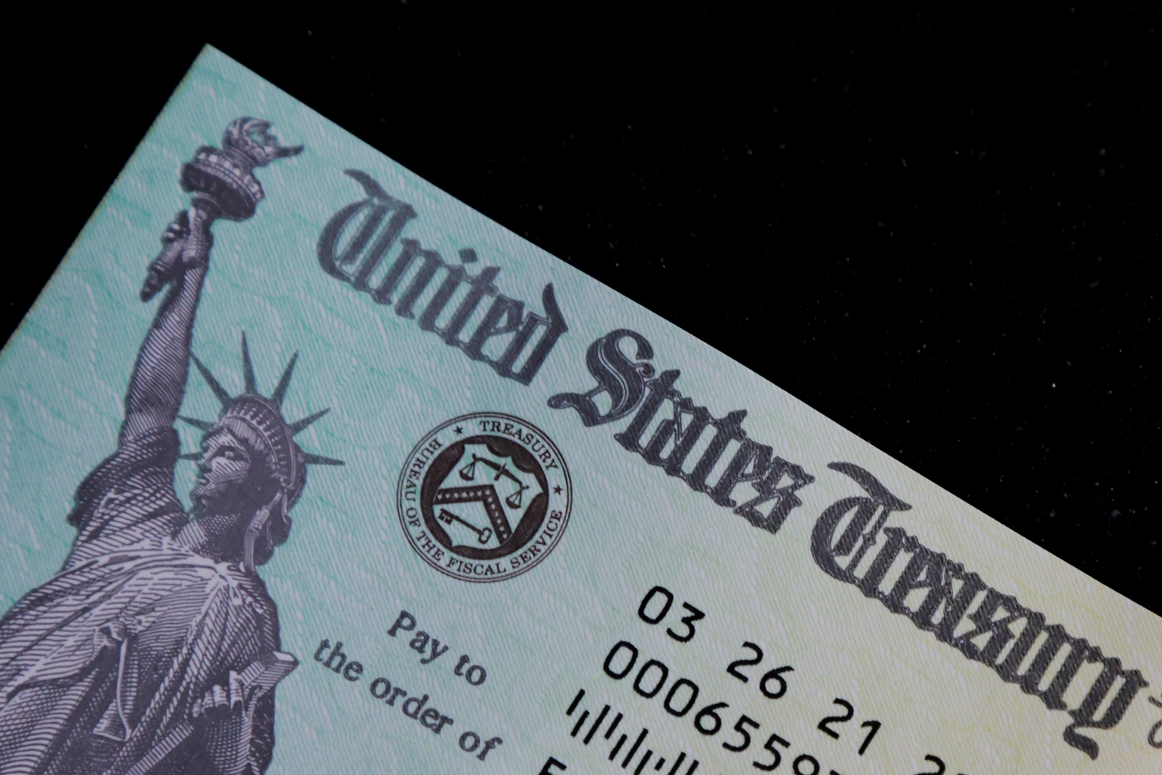 photo of a family's stimulus check from the U.S. Treasury for the Covid-19 pandemic stimulus