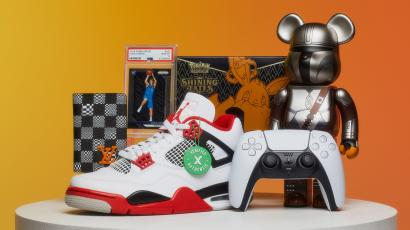 A display of products StockX sells on its marketplace, such as sneakers, collectibles, and electronics
