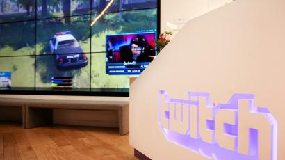 A wall of video monitors with real-time video game play is seen at the offices of Twitch Interactive