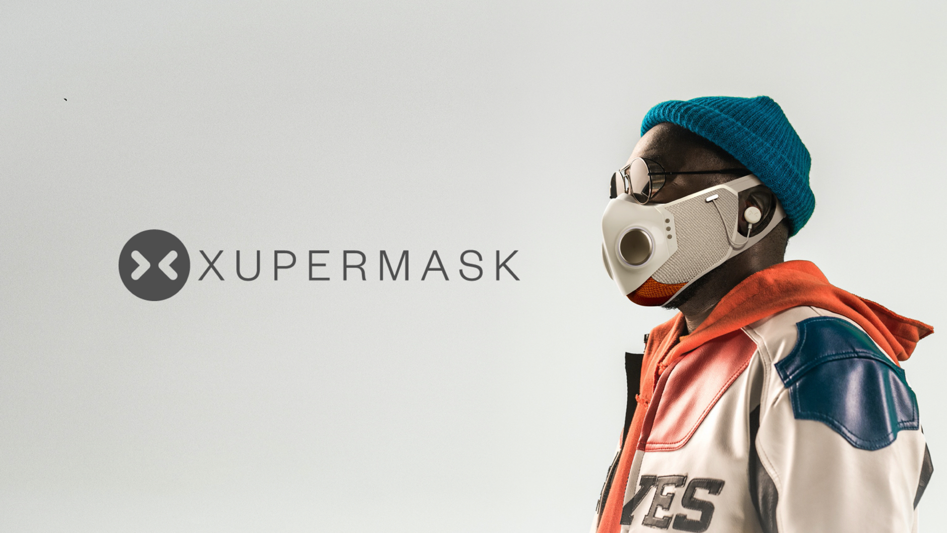 An advertisement with will.i.am wearing the Xupermask