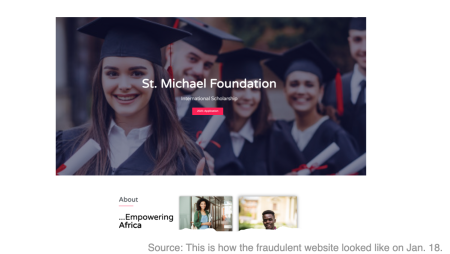 Screenshot of fraudulent website with student in cap and gown