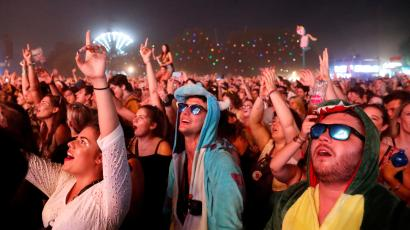 Festivalgoers attend the Sziget music festival on an island in the Danube River in Budapest