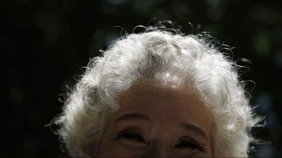 A white-haired woman
