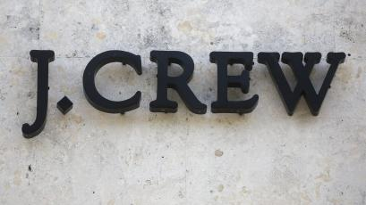 A J.Crew store logo is pictured on a building