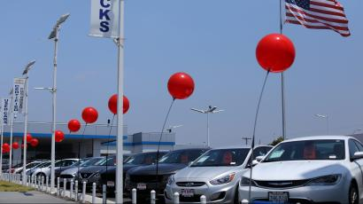 Used cars are shown for sale in National City, California, U.S.
