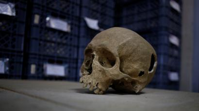 A view of a skull from an ancient Roman cemetery found below a restaurant in Lisbon