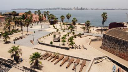 Freedom and Human Dignity Square, previously Europe Square, is pictured off the coast of Dakar.