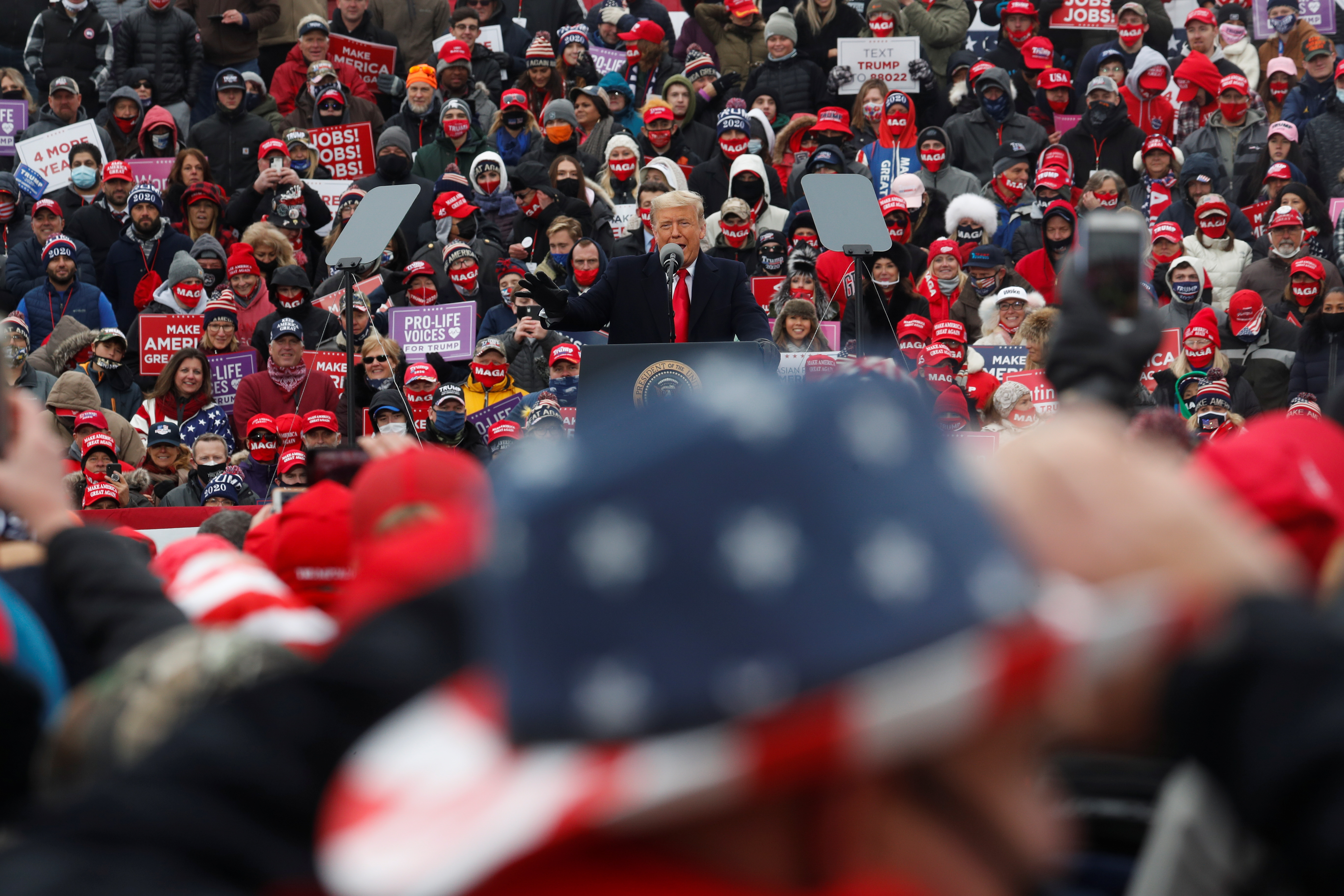 U.S. President Donald Trump's campaign rally in Waterford Township, Michigan