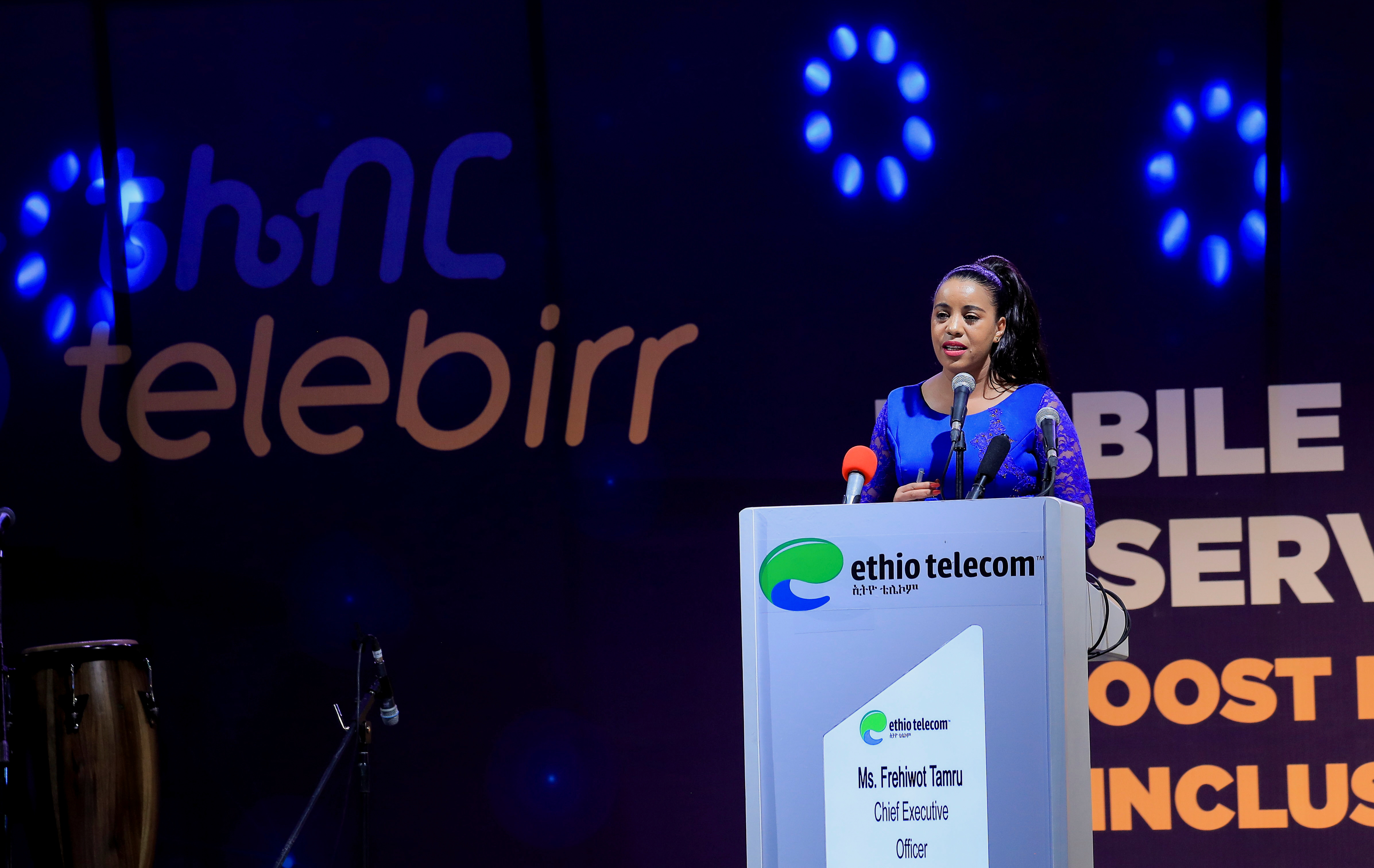 Ethio-Telecom Chief Executive Officer, Frehiwot Tamiru addresses delegates during the launch of a mobile phone-based financial service named Telebirr mobile money service, in Addis Ababa, Ethiopia