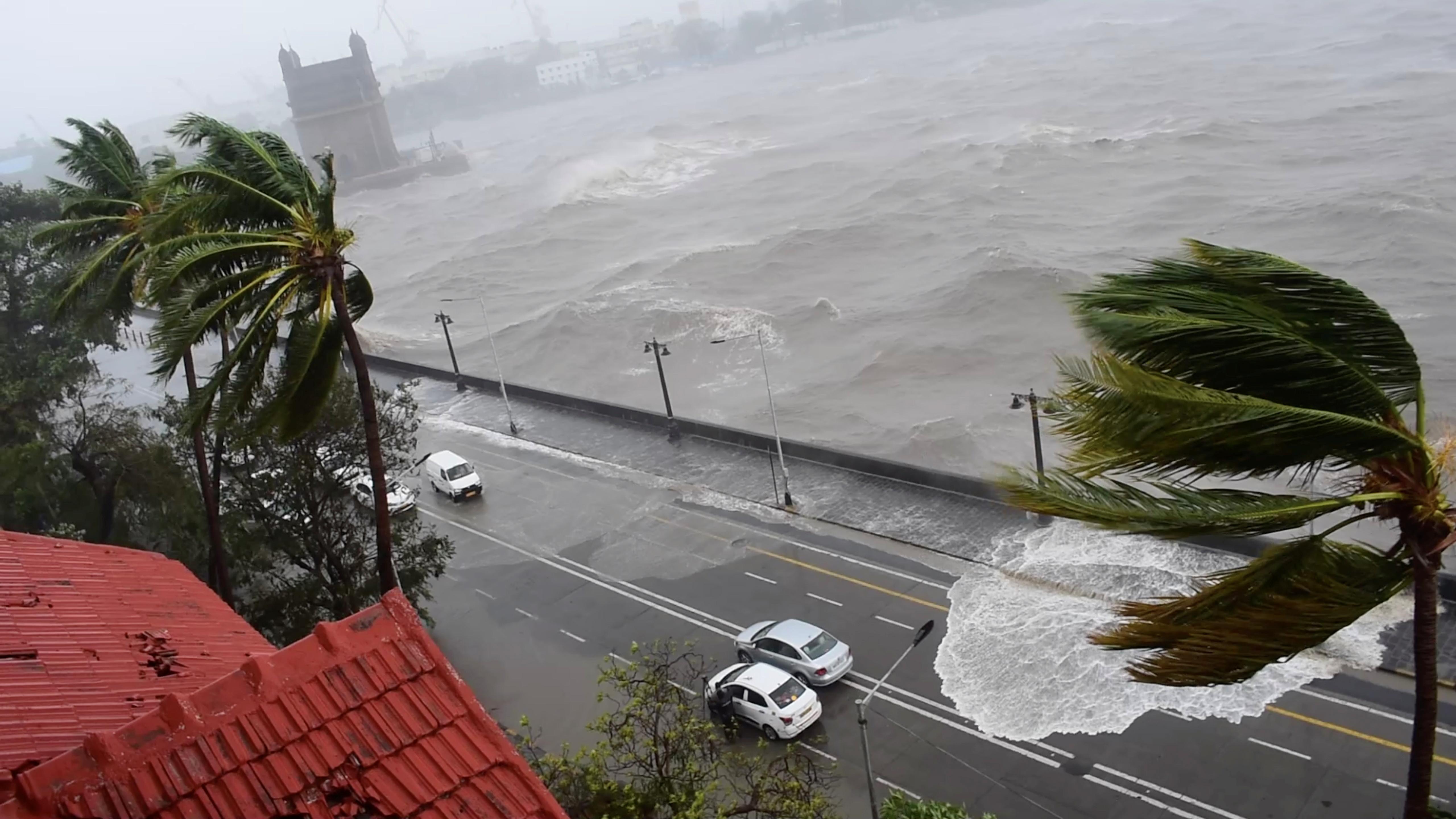 Waves crash onto the road as Cyclone Tauktae batters Mumbai