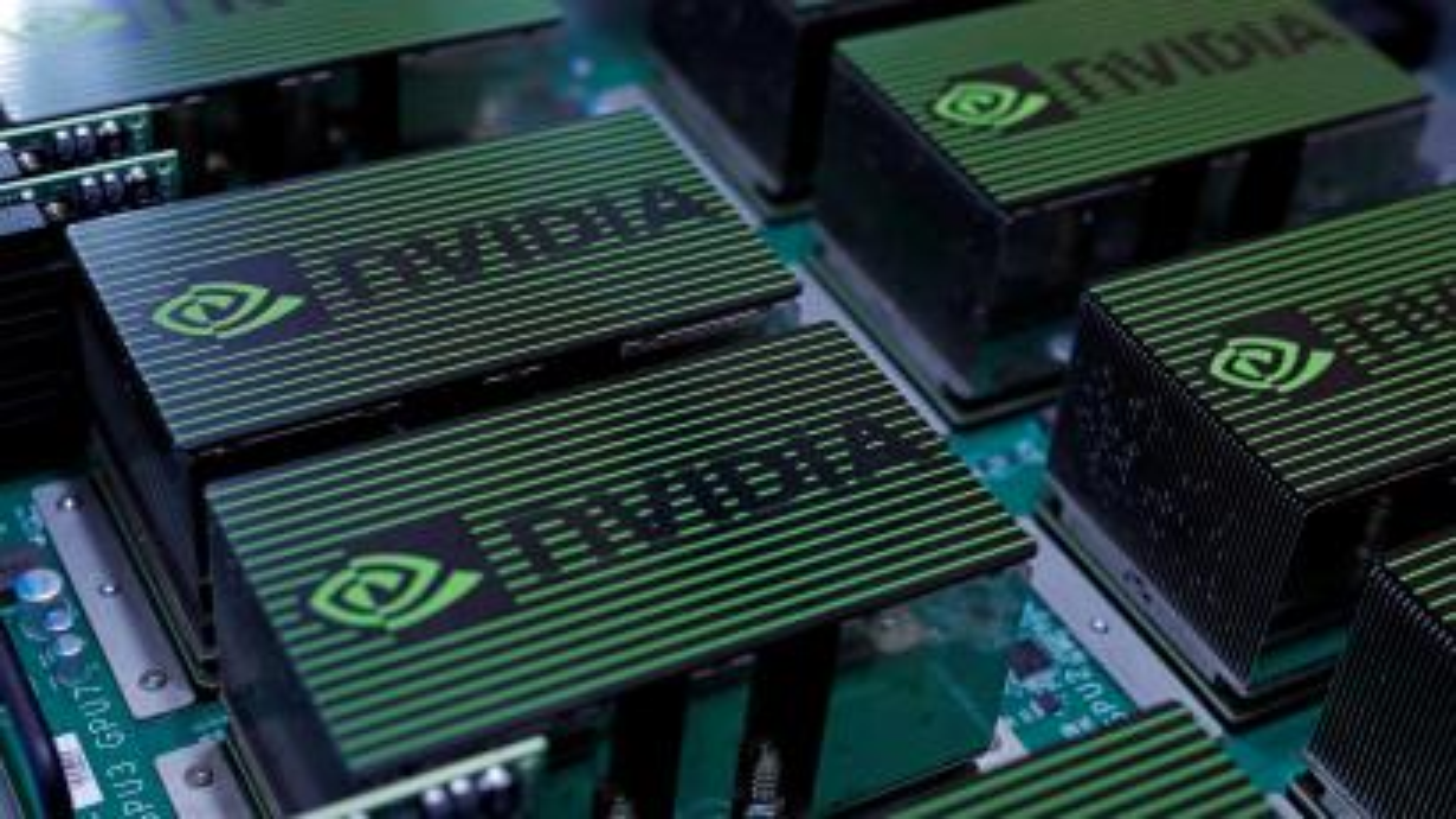 A row of chips dispays the NVIDIA logo.
