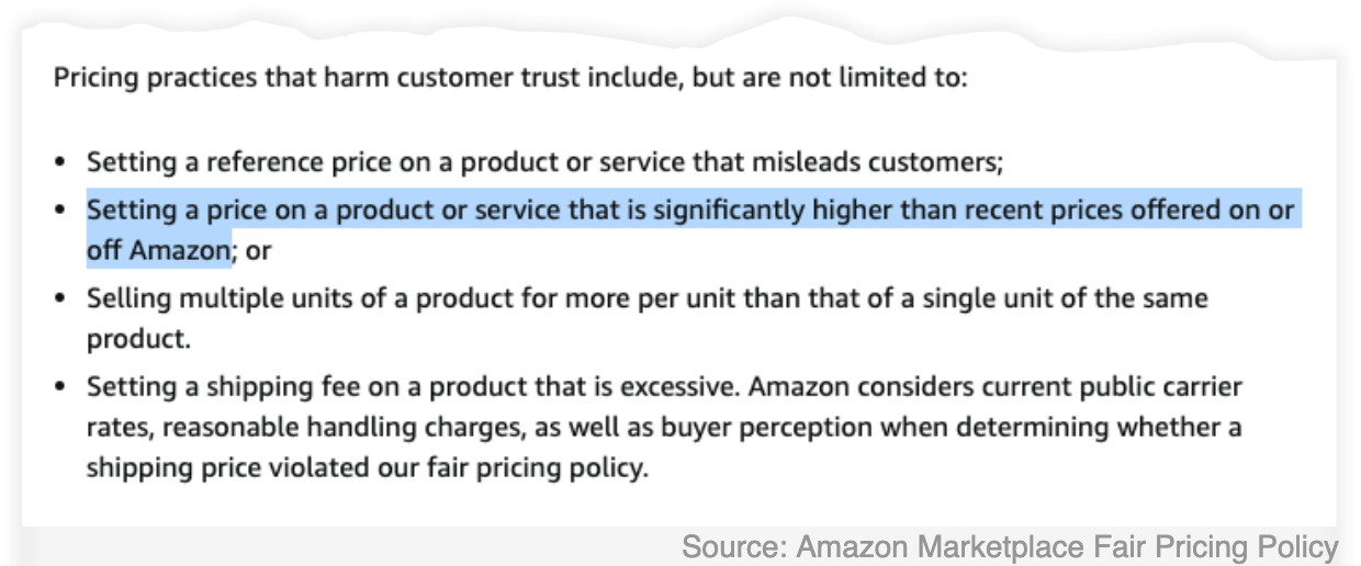 """A snippet of the Amazon Marketplace Fair Pricing Policy, with the company's most favored nation clause highlighted. It bars vendors from """"setting a price on a product or service that is significantly higher than recent prices offered on or off Amazon."""""""