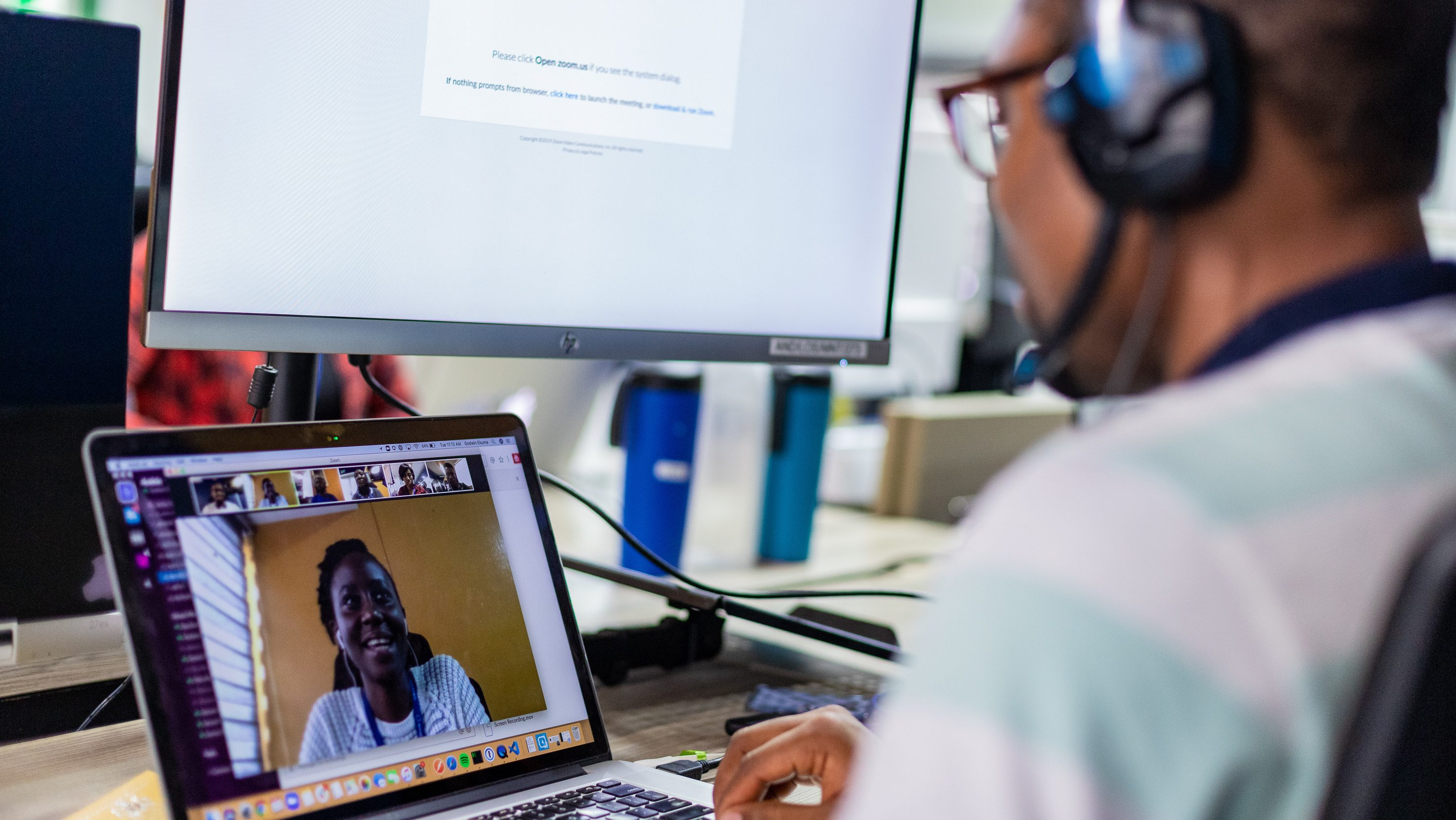 An Andela developer is pictured working remotely.