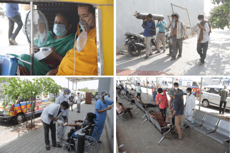 Scenes outside the 1,200 bed Civil Hospital in Ahmedabad.