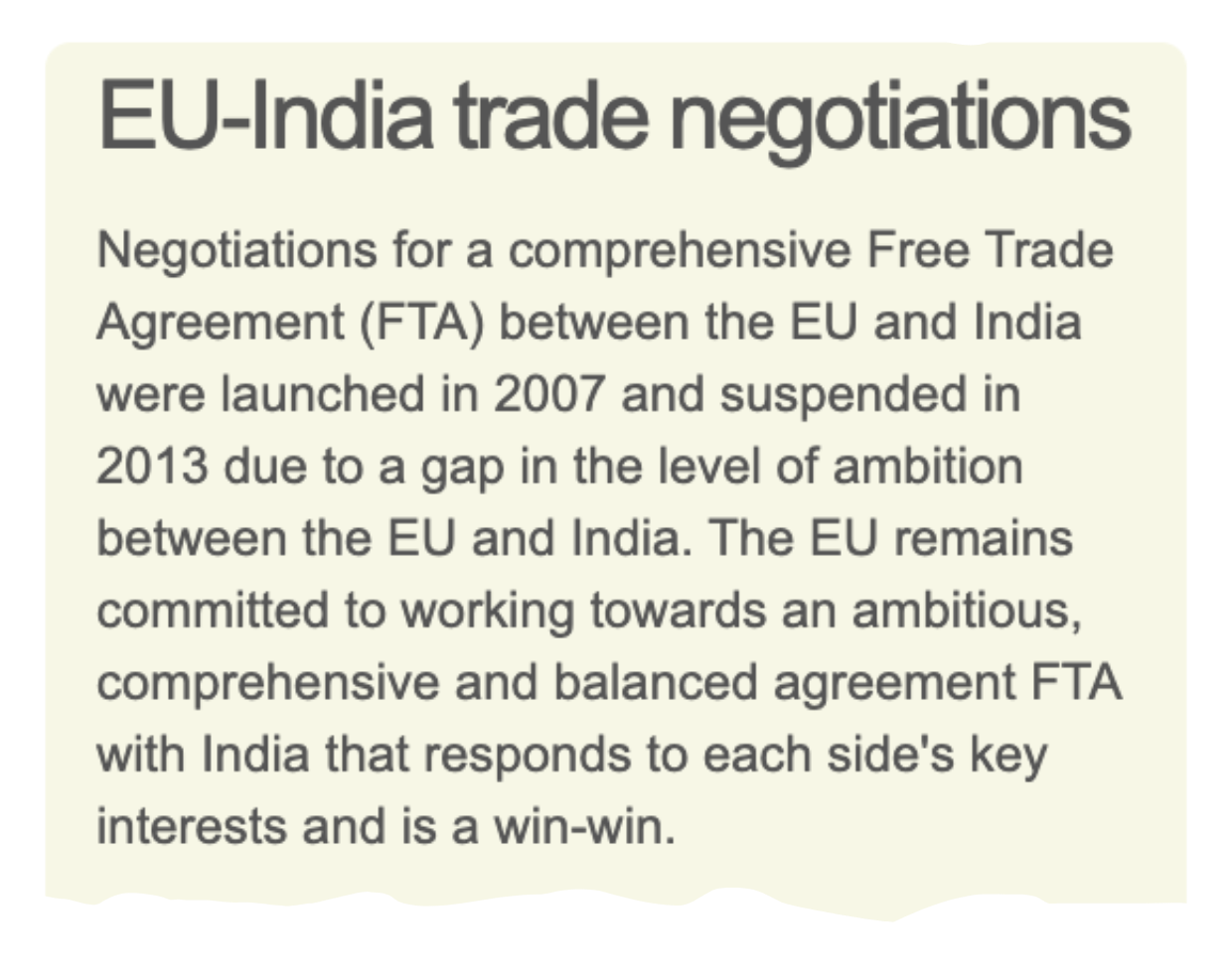 An explanation from the EU side of the EU-India trade relationship
