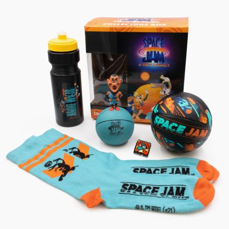 A Space Jam water bottle, toy, basketball, and socks.