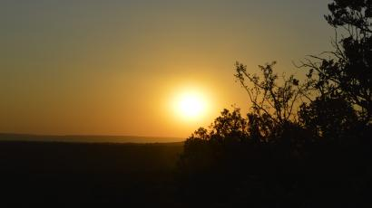 The sunsets over Vryburg, a large farming town which once hosted the premier German intelligence organization in wartime South Africa.