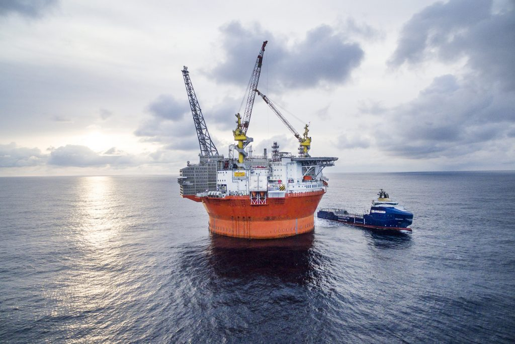 The massive Goliat oil rig on calm waters in the Barents Sea