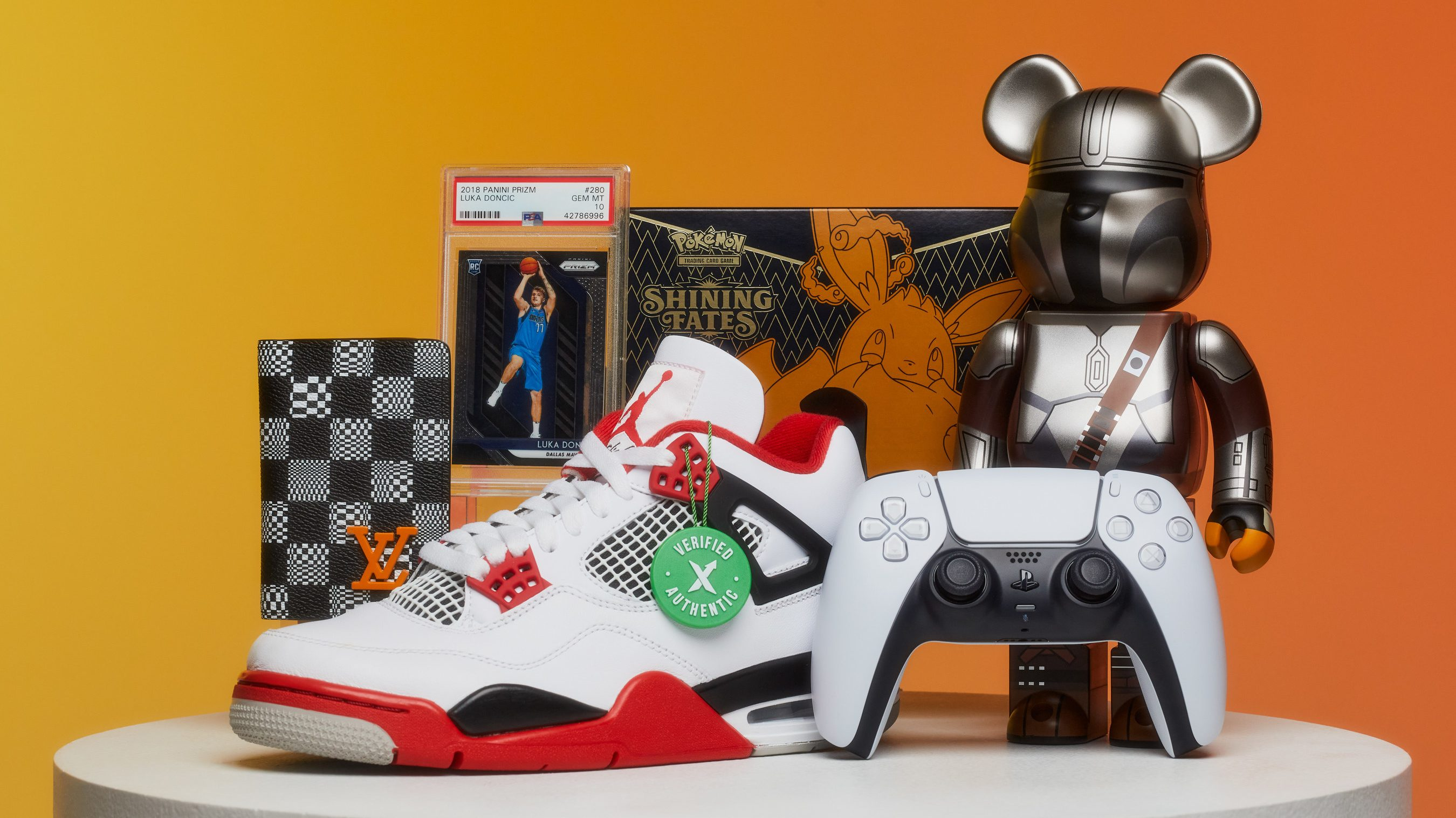 Products representing categories that sell on StockX including a Jordan 4 sneaker, a video game controller, a KAWS collectible toy, and a basketball trading card