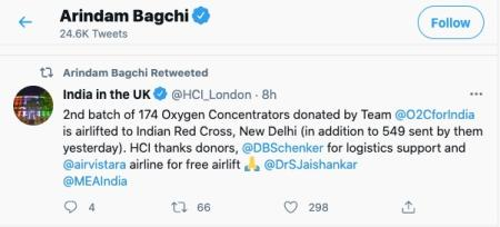 Tweet showing aid from the UK..