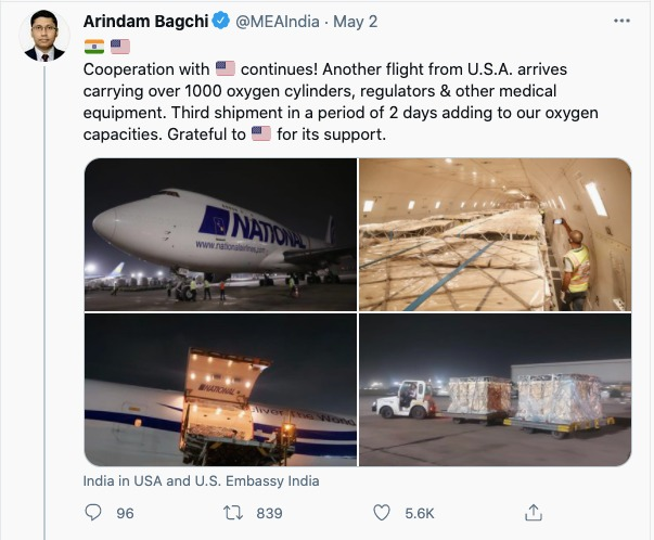 Tweet showing Covid-19 aid from the US.