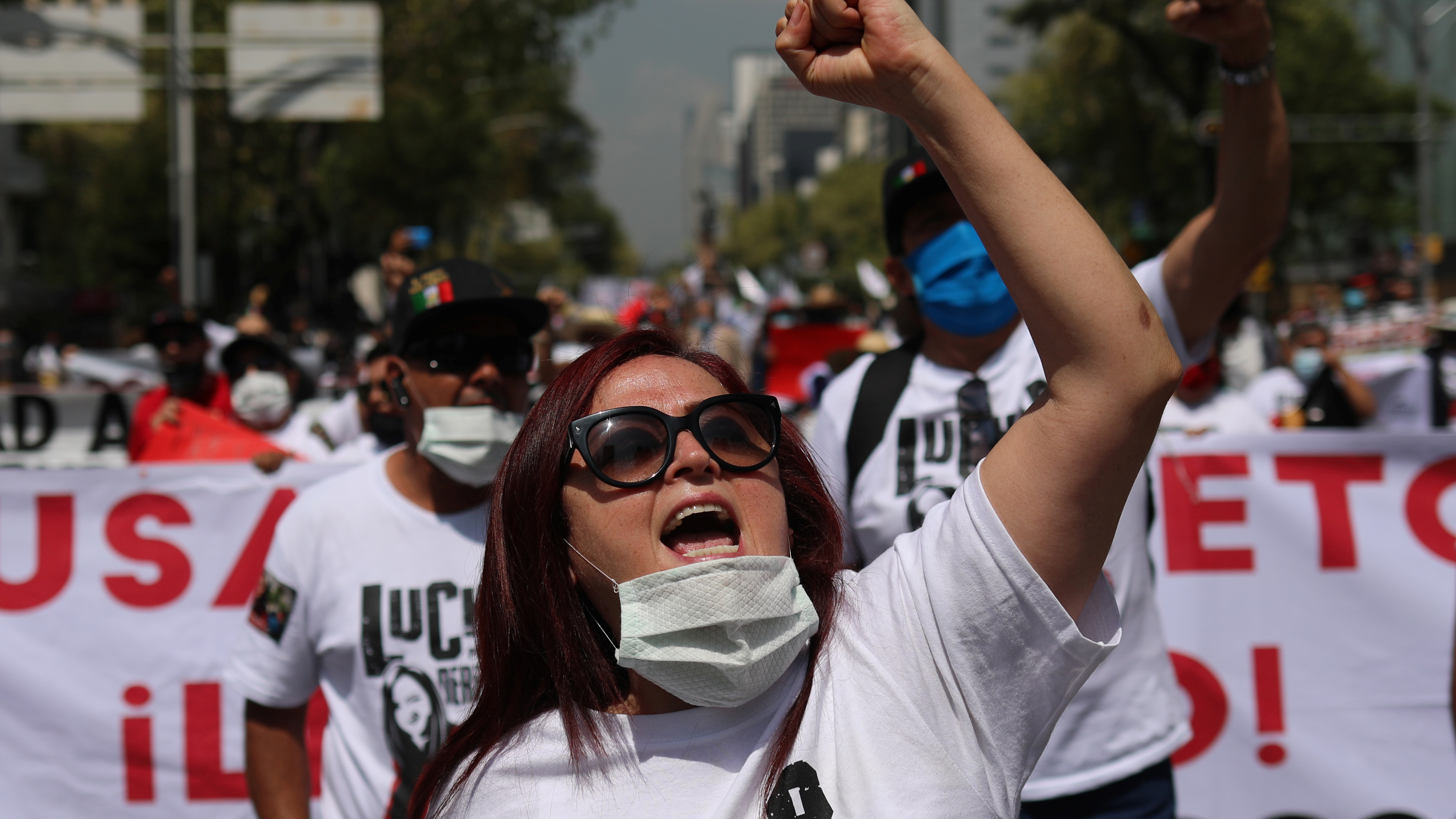 Mexican labor lawyer Susana Prieto leads a demonstration with supporters and workers along the streets as she said she is fighting to prove her innocence following criminal charges in the northern state of Tamaulipas, in Mexico City, Mexico