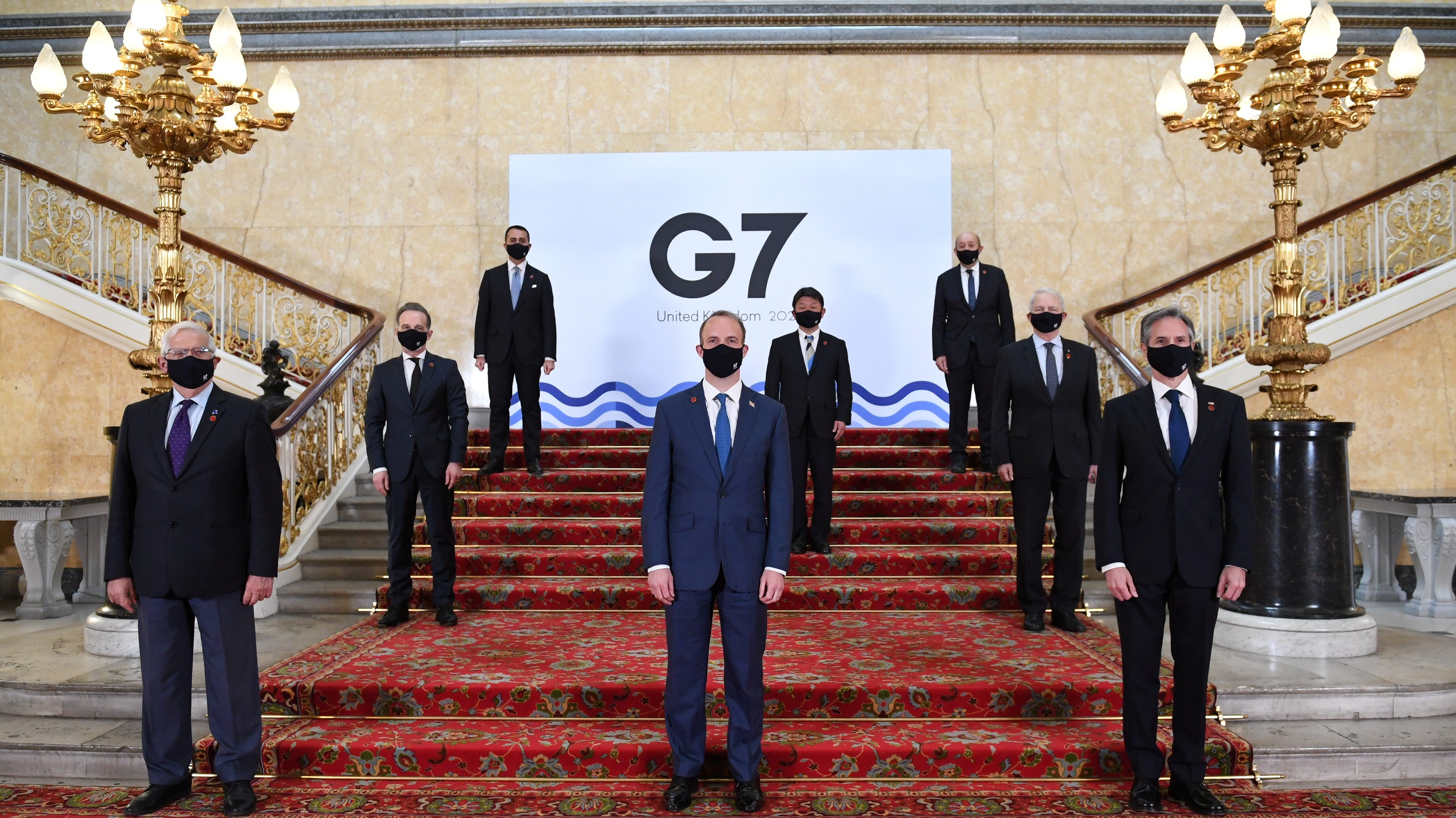 G7 foreign and development ministers take a group photo at Lancaster House