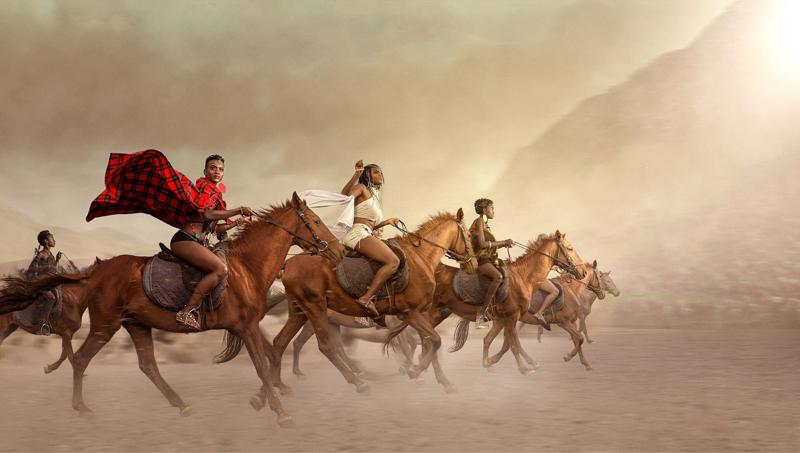 Artwork by Rich Allela and Kureng Dapel depicts African warriors on horseback.