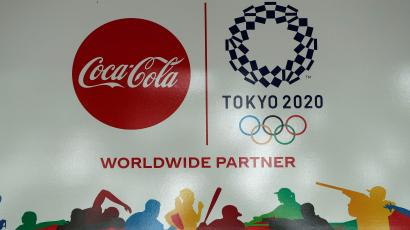 The logo of the worldwide Olympic partners' Coca-Cola beverages, is displayed, amid the coronavirus disease (COVID-19) outbreak, outside an Olympic facility in Tokyo