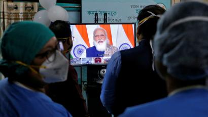 FILE PHOTO: Launch one of the world's largest COVID-19 vaccination campaigns at a government-run hospital, in Kolkata