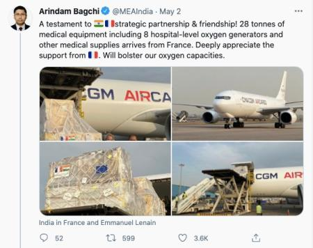 Tweet showing aid from France.