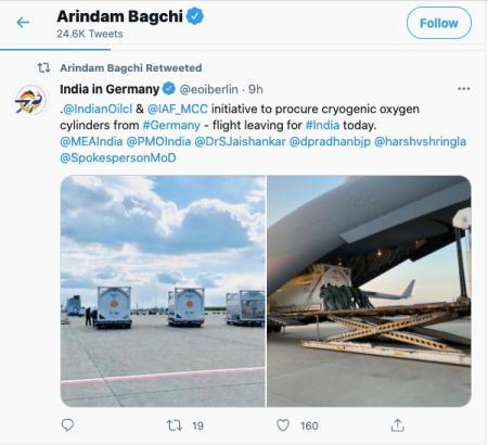 Tweet showing aid from Germany to India.